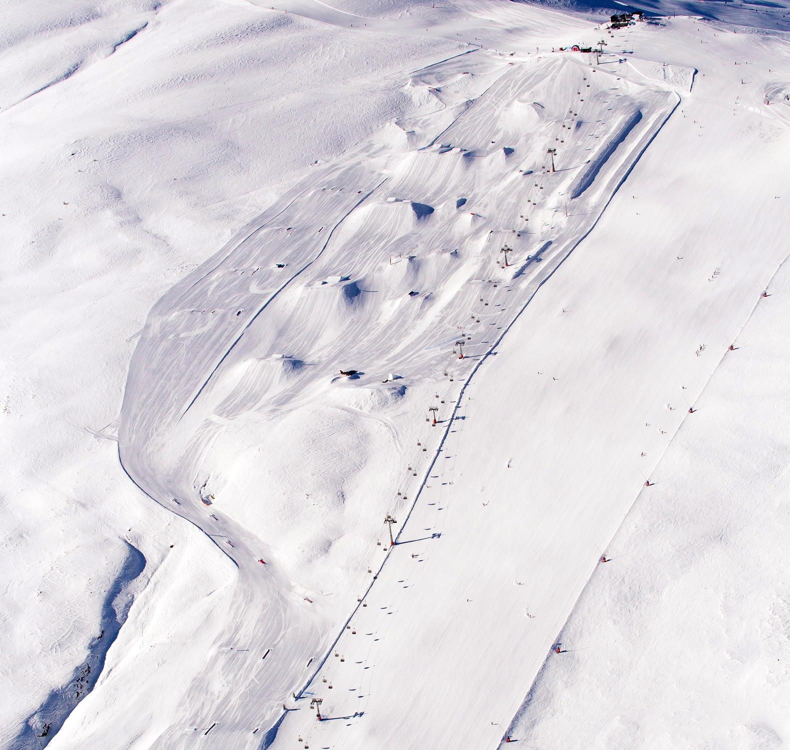 Snowpark Mottolino dall'alto