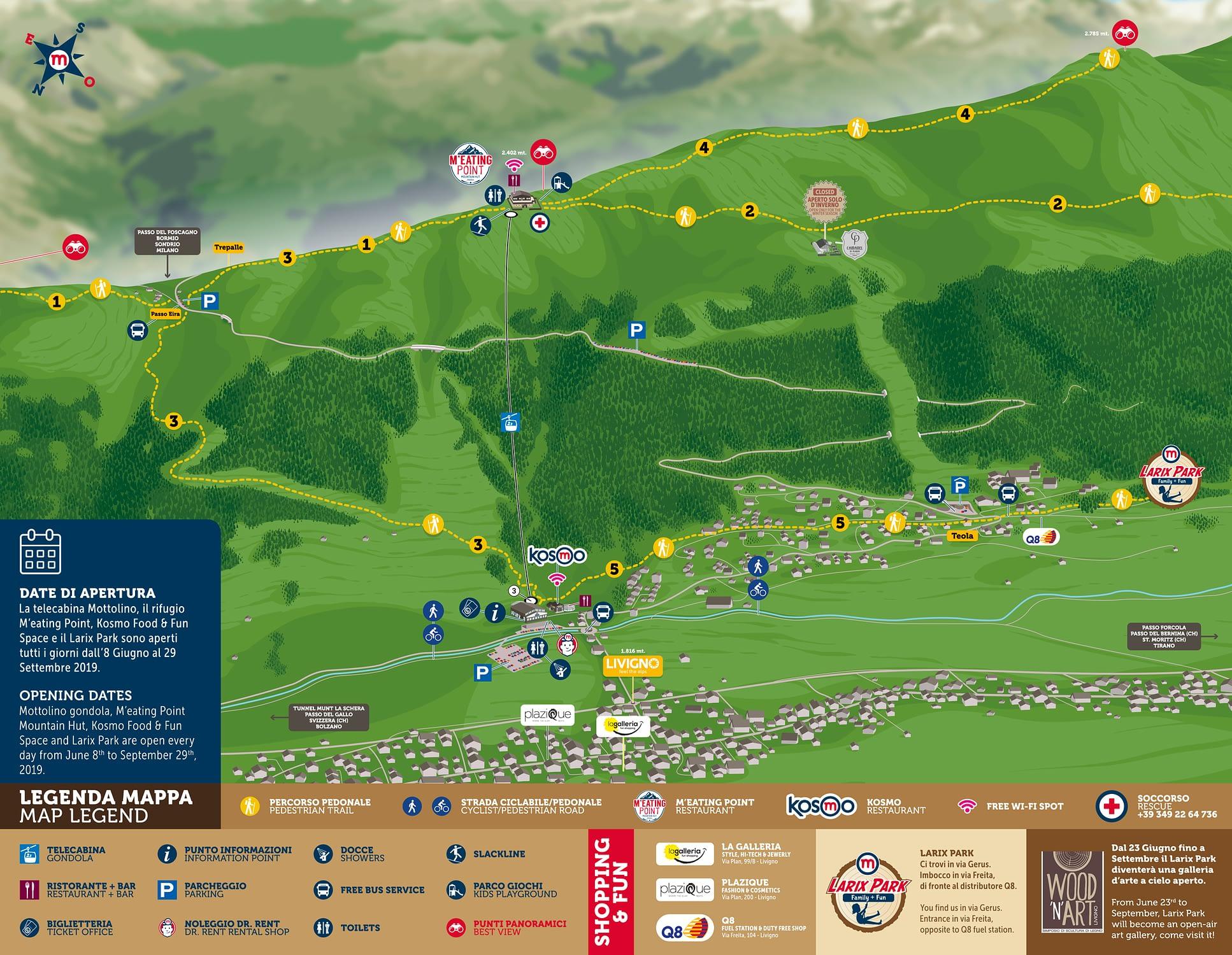 Mappa dei sentieri per i pedoni in alta quota del versante Mottolino