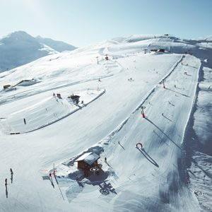 Panoramica del Campo Scuola della ski area Mottolino a Livigno